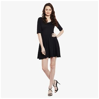 Round Skater Half Neck Solid Mini Dress Sleeved Black Chase Women's Miss OxXqtzw