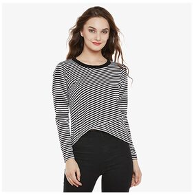 Miss Chase Women's Black and White Cotton Round Neck Full Sleeve Striped Layered Asymmetric Hemline Top