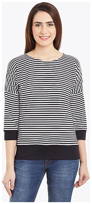 Miss Chase Women's Black & White 3/4 Sleeves Round Neck Striped Tops