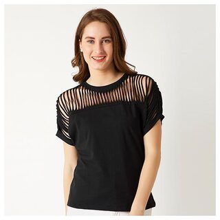 Women's Black Round Neck Continuous Short Sleeve Cotton Solid Cut Out Top