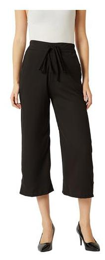 Women's Black Solid Straight Fit Belted Culottes