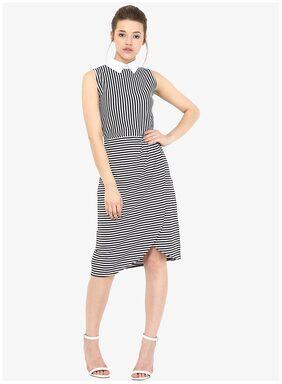 Miss Chase Women's Black & White Sleevless Round Neck Striped Pleated Knee-Length Dress