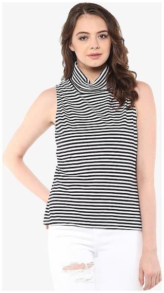 Miss Chase Women's Black & White Sleeveless High Neck Striped Top