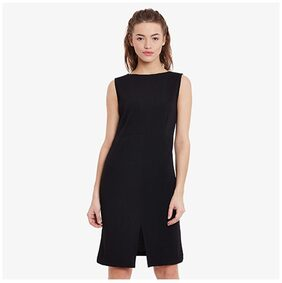 Miss Chase Solid Fit & Flare Dress Black