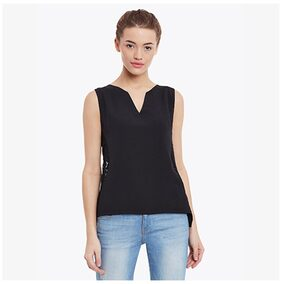 Miss Chase Women's Black Round Neck Sleeveless Embroidered Panelled Top