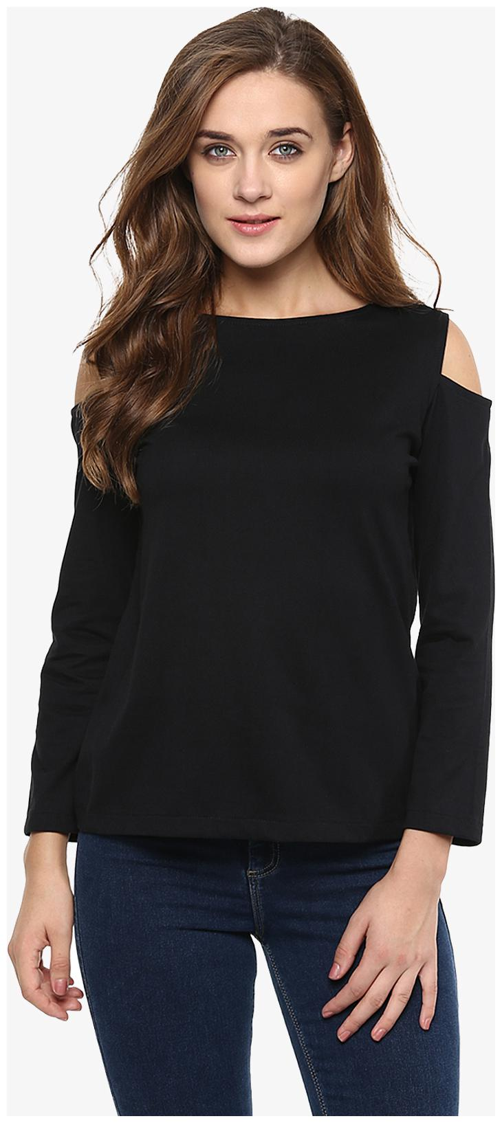 Miss Chase Women's Black Solid Shoulder Cut Out Full Sleeve Round Neck Tops