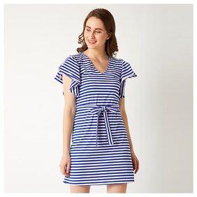 Women's Blue And White V-Neck Short Sleeve Cotton Striped Ruffled Belted Mini Shift Dress