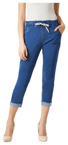Women's Blue Regular Fit Mid Rise Clean Look Ankle length Denim Joggers