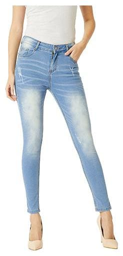 Miss Chase Women Skinny Fit Mid Rise Solid Jeans - Blue