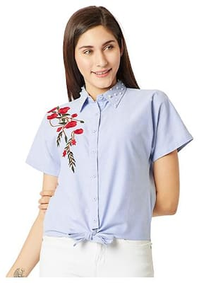 Miss Chase Women Regular Fit Embroidered Shirt - Blue