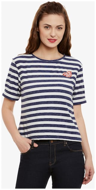 Miss Chase Women's Blue & White Round Neck Half Sleeves Striped embroidered Top