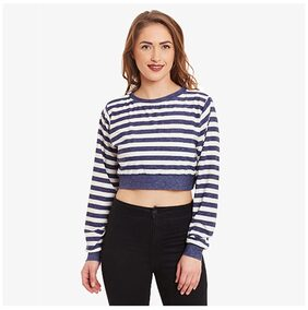 Miss Chase Women's Blue & Offwhite Full Sleeves Boat Neck Striped Crop Top