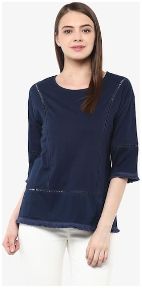 Miss Chase Women's Blue 3/4 Sleeve Round Neck Solid Panelled Top