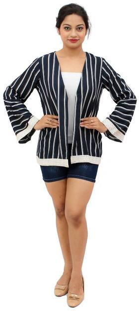 Women's Blue Stripe Shrug With Lace Shrug