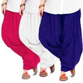 Women's BLUE-WHITE-RANI Cotton Patiala Salwar
