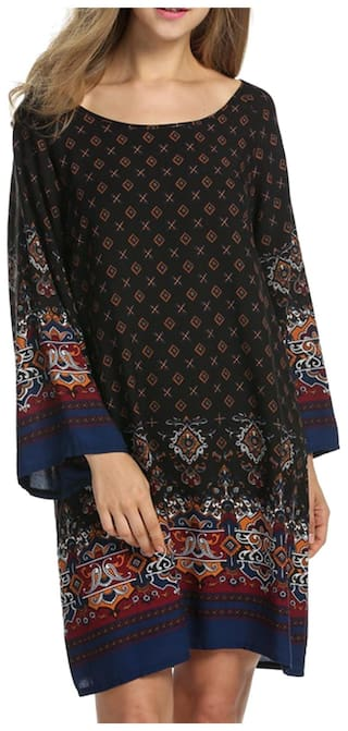 Women's Bohemian Vintage Print Ethnic Style Loose Casual Tunic Dress-Black