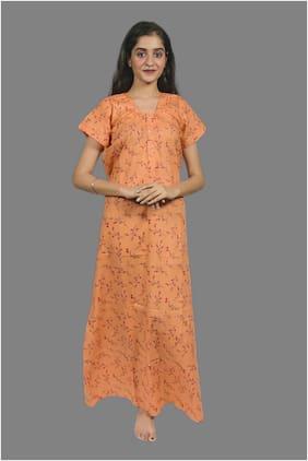 Balaji Cotton House Women's Pure  cotton round neck printed nightgown