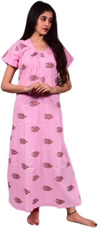 Balaji cotton house Pink Night Gown