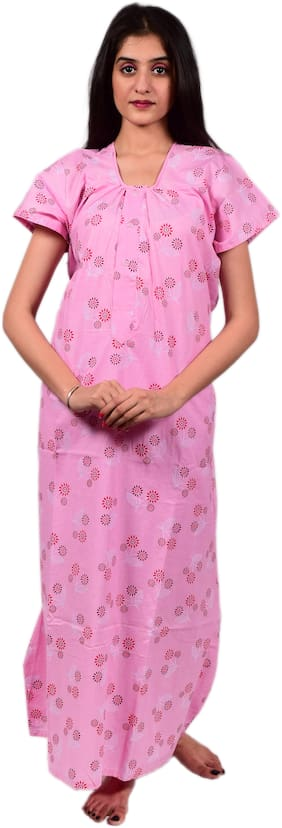 Balaji cotton house Pink Night Gown