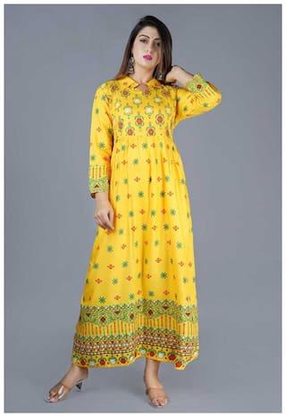 Balaji cotton house Women Yellow Floral Anarkali Kurta
