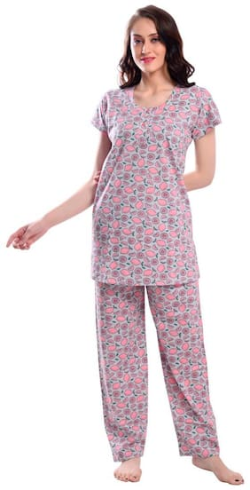 S.S. FLAIR COMFORT FOREVER Women Cotton Printed Top and Pyjama Set - Pink