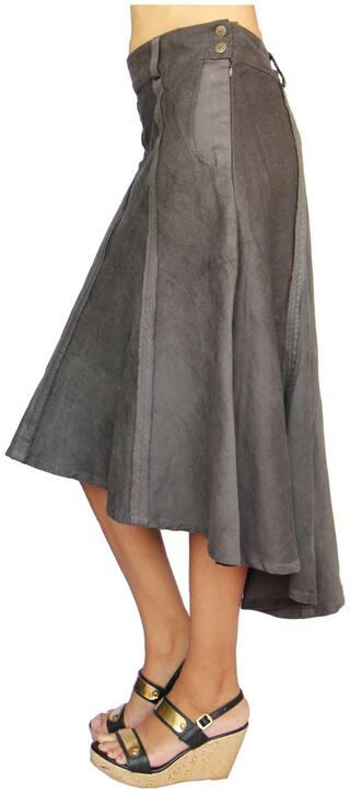 Women's Dark Olive Green Corduroy High Low Hem Knee Length Panel Skirt