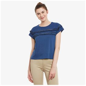 Miss Chase Women's Dark Blue Solid Cap Sleeve Round Neck Lace Tops