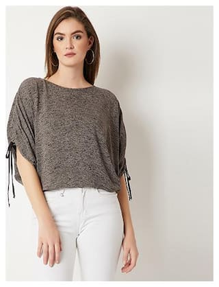Miss Chase Women Solid Regular top - Grey