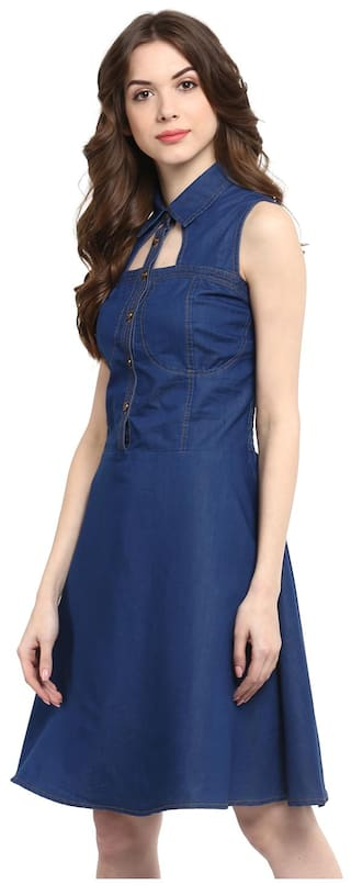 Denim Dress Blue Dark cutout Women's with Neck qt7Ex