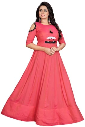 JIA E-MART Women's Embroidered Printed Rayon Anarkali Flared Kurta Gown for Women | Wedding Dress for Girls Gown
