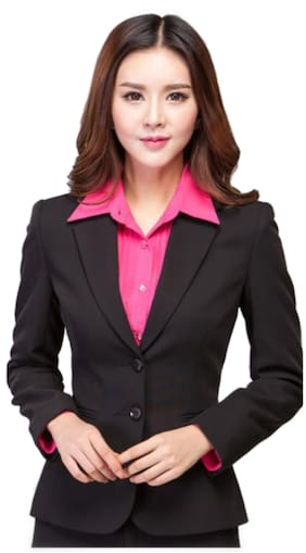 PROCENT Women Solid Regular FIt Blazer - Black