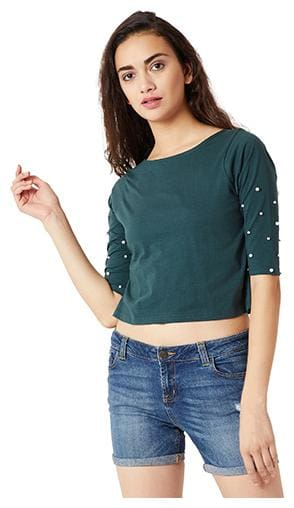 Miss Chase Women Solid Regular top - Green