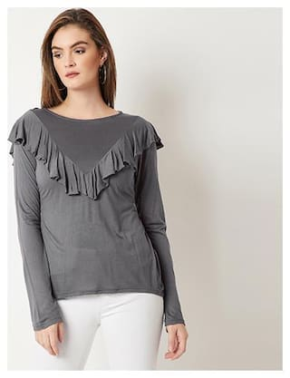 Miss Chase Women Polyester Solid Grey