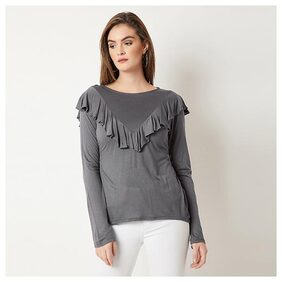 Women's Grey Round Neck Full Sleeves Solid Ruffled Top