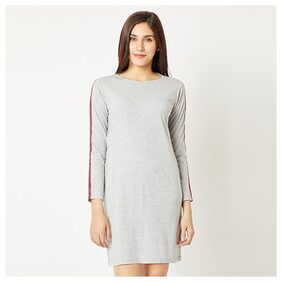 Women's Grey Round Neck Full Sleeve Cotton Twill Tape Detailing Solid Mini Shift Dress