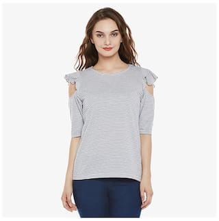 Miss Chase Women Cotton Striped - Regular Top Multi