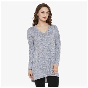 Miss Chase Women's Grey Cotton Round Neck Full Sleeve Solid High-low Top