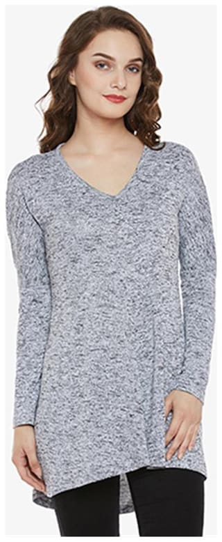 Miss Chase Women Cotton Solid - Regular top Grey