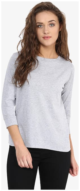 Miss Chase Women's Grey & Blue Three quarter Sleeve Round Neck Solid Top