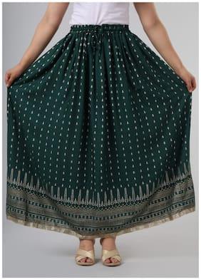Balaji Cotton House Women's Rayon Handblocked Ethnic Skirt