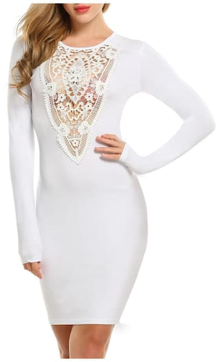 Cocktail Long Bodycon Sleeve Evening Women's Dress Pencil Party Lace nW7Pp7txS