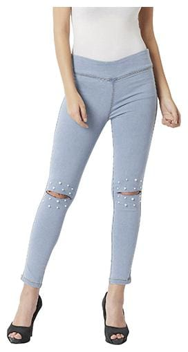 Miss Chase Women Super Skinny Fit High Rise Washed Jeans - Blue