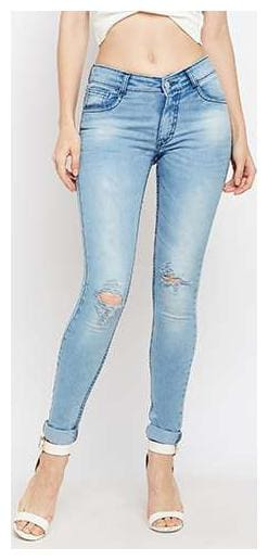 Women's Light Blue Skinny Fit Mid Rise Regular Length Mildly Distressed Ripped Denim Stretchable Jeans