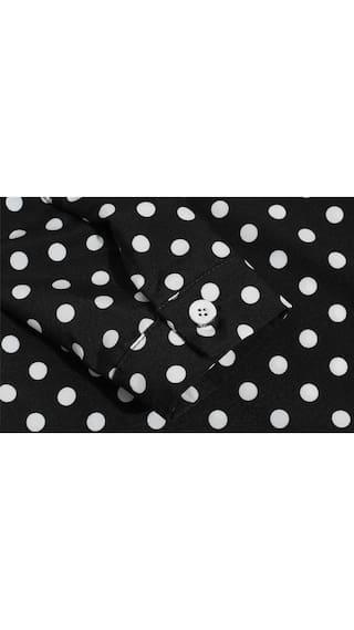 Down Dot Button Long Shirt 's Women Sleeve Polka Loose Casual waBB8Izq