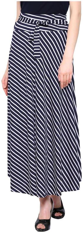 Shopolica Striped Flared skirt Maxi Skirt - Blue