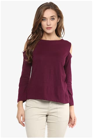 Miss Chase Women Cotton Solid - Regular Top Maroon