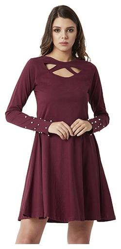 Women's Maroon Round Neck Full Sleeves Cotton Solid Cut-Out Pearl Detailing Mini Dress