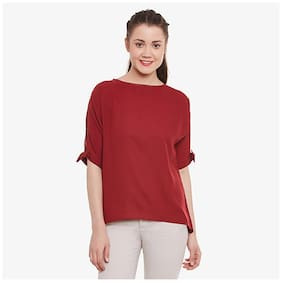 Miss Chase Women's Maroon Round Neck Half-Sleeve Tie-up Knot Top