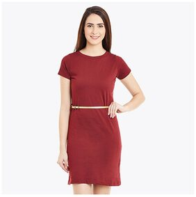 Miss Chase Women's Maroon Short Sleeves Round Neck Solid Mini Shift Dress