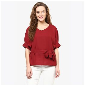 Miss Chase Women's Maroon Solid Knotted Half-Sleeve V-Neck Tops